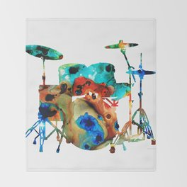 The Drums - Music Art By Sharon Cummings Throw Blanket