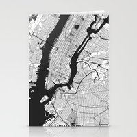 new york map Stationery Cards featuring New York Map Gray by City Art Posters