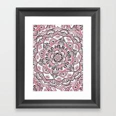 Magical Mandala in Monochrome + Pink Framed Art Print