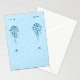 Jellyfish and Beta Fish in a Cyan Seaweed Sea Stationery Cards