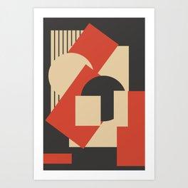 Geometrical abstract art deco mash-up scarlet beige Art Print