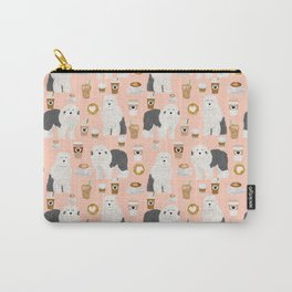 Old English Sheepdog gifts for dog lover with dog breed pet portraits by pet friendly Carry-All Pouch