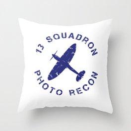 13 Squadron Photo Recon Spitfire Throw Pillow