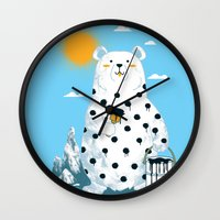 polka Wall Clocks featuring polka bear by Steven Toang