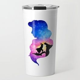 Jasmine Watercolor Double Exposure Aladdin Travel Mug