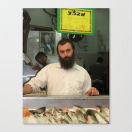 Fish Monger in the Shuk Canvas Print
