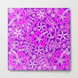 Hibiscus Pink and Purple Pattern Metal Print