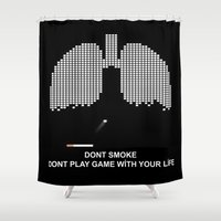 tetris Shower Curtains featuring Smoke Tetris by ArtSchool