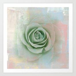 Elegant Painterly Mint Green Rose Abstract Art Print