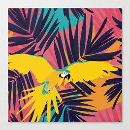 Tropical Macaw Print Canvas Print