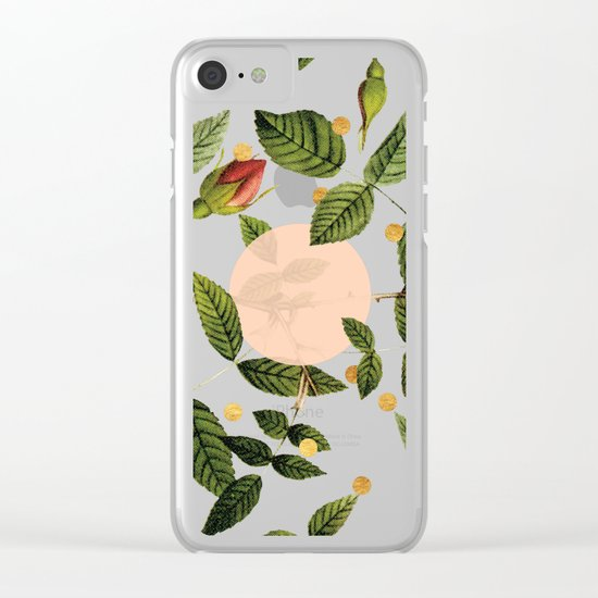 Leaves + Dots Clear iPhone Case