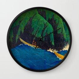 Kawase Hasui Vintage Japanese Woodblock Print Beautiful Green Cliffs Raging Blue Waters With Fisherm Wall Clock