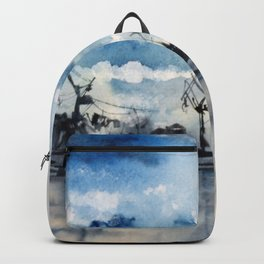 Original Watercolor Landscape of a Stormy Sky over the Gulf of Finland Backpack