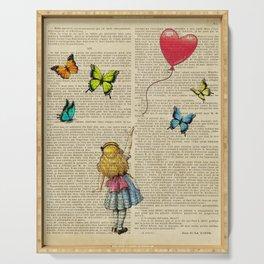 banksy alice in wonderland girl balloon  Serving Tray
