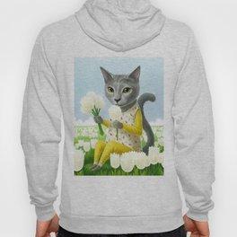 A cat sitting in the flower garden Hoody