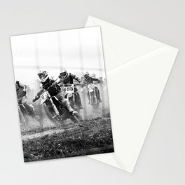 Motocross black white Stationery Cards