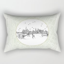 New York, New York City Skyline Illustration Drawing Rectangular Pillow
