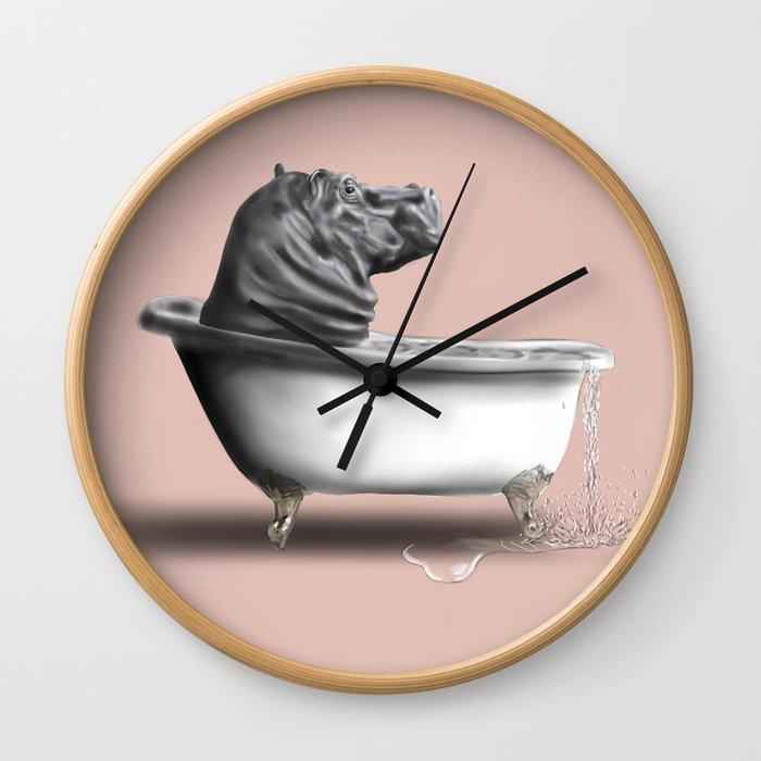Hippo in Bath Wall Clock