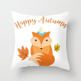 Little Fox Happy Autunm - Fall Begins Throw Pillow