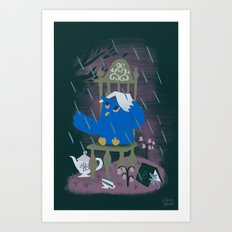 Rain At Owl's Tea Party Art Print