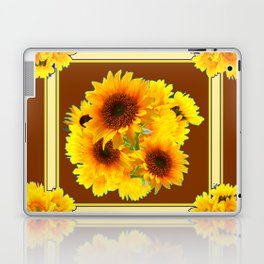 CHOCOLATE BROWN YELLOW SUNFLOWER BOUQUETS Laptop & iPad Skin