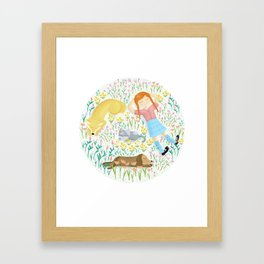 Summer Afternoon With Dogs, Cats And Clouds Framed Art Print
