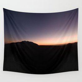 monte baldo garda lake italy drone shot aerial view sunset mountains dust path clouds star Wall Tapestry