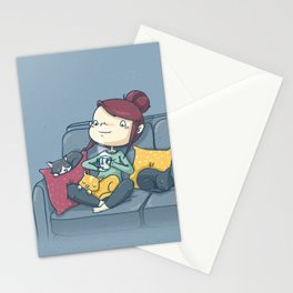 On the couch Stationery Cards