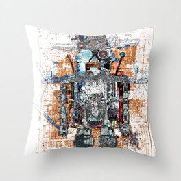Awesome Giant Robot with Cat Throw Pillow