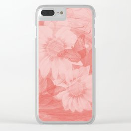 Surreal butterflies and flowers in living coral Clear iPhone Case