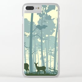 deer and deer in the forest Clear iPhone Case