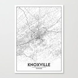 Minimal City Maps - Map Of Knoxville, Tennessee, United States Canvas Print