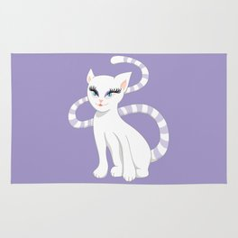 Pretty white cartoon kitty cat Rug