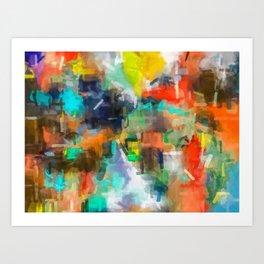 splash brush painting texture abstract background in brown orange blue yellow Art Print