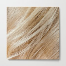 Wavy blonde woman hair background and texture Metal Print