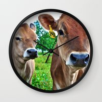 cows Wall Clocks featuring Cows by Chris Klemens