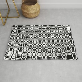 Asymmetry collection: abstract black and white circles Rug