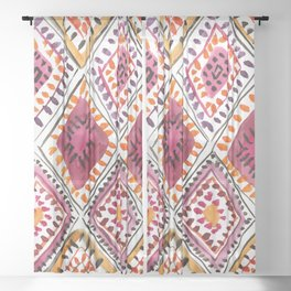 Warm Color Moroccan Rug Beautiful Embroidered Traditional Pattern Watercolor Painting Kilim Tapestry Sheer Curtain