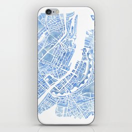 Copenhagen Denmark watercolor city map iPhone Skin