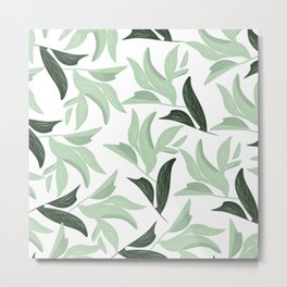 Abstract modern green pastel color leaves floral Metal Print