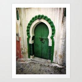 Green keyhole, Tangiers, Morocco Art Print