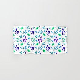 Wild exotic crawling snakes, little lush green and blue leaves white snake tropical nature pattern. Reptile lover. Gift ideas for animal lover & herpetologist. Hello spring. Hand & Bath Towel