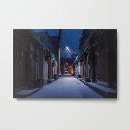 Snowy Seoul Homes Metal Print