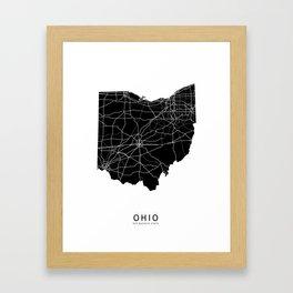 Ohio Black Map Framed Art Print