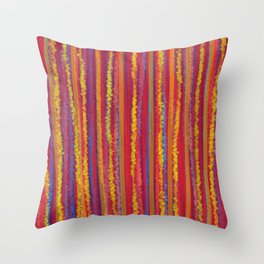 Stripes  - Cheerful yellow orange red and blue Throw Pillow