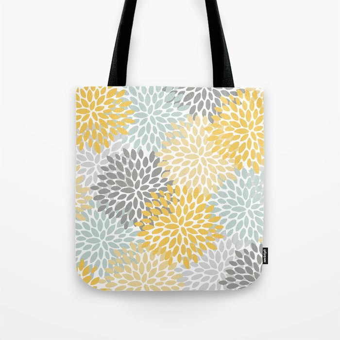 Floral Pattern, Yellow, Pale, Aqua, Blue and Gray Umhängetasche