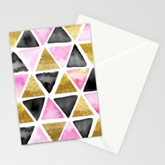 Chic Watercolor Pink, Black, and Gold Geometric Triangle Pattern Stationery Cards
