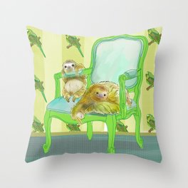 animals in chairs #6 The Sloth Throw Pillow