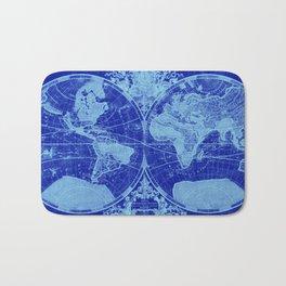 World Map (1691) Blue & Light Blue Bath Mat