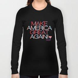 Make America Great Again w/ Trump Trumpet & Flag logo - black Long Sleeve T-shirt